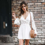 White FLare Sleeve  Mini Dress