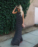 Summer Dress Tank A-line Stripe Casual Boho Split Dress