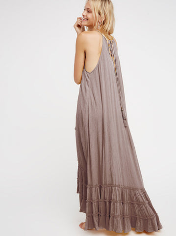 Beautiful Boho Sexy Halter Floor-Length Ruffles Summer Long Loose Dress