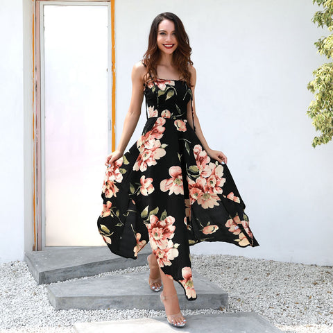 Grand Spaghetti Strap - Stretch Waist Floral Dress