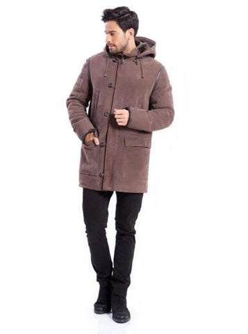 Mens Detachable Hooded Winter Coat in Brown