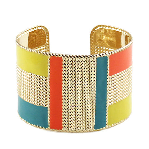 Fine Art Color Block Cuff Bangle