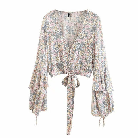 Sexy Flower Boho Short Blouses Lace Up with Waist Tie