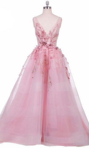 Princess Forest Pink Tulle Evening Gown 3D Embellishments Backless