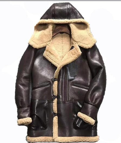 Men's Genuine Shearling Wool Hooded Leather Jacket, Luxurious and Warmth