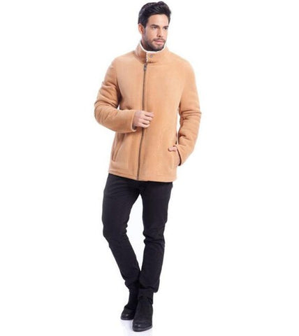 Men's Brown Short Zipper Closure Fur Jacket