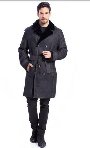 Long Leather Shearling Black Lapel Jacket Classic Double-Breasted Belt Design