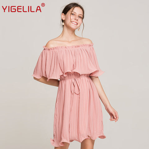 Pink Pleated Off Shoulder Ruffles Dress