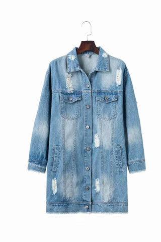 2018 Hole Embroidery Frayed Long Denim Jean Jacket