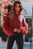 2018 Loose Tassel Pullovers Flare Sleeve Autumn Sweater