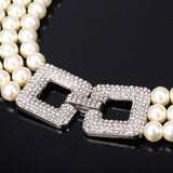 Three Strand Luxury Simulated Pearl Women's Necklace