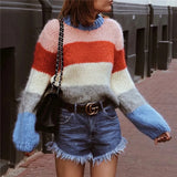 2018 Autumn Patchwork Colorful Pullover Loose Mohair Knitted Sweater