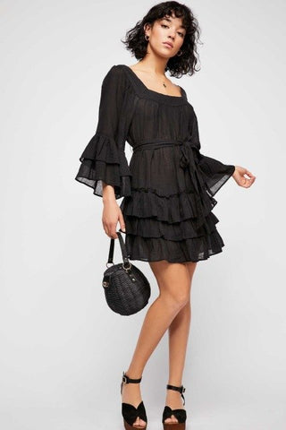 2018 Women's Cotton Square Collar Ruffles Loose Dress