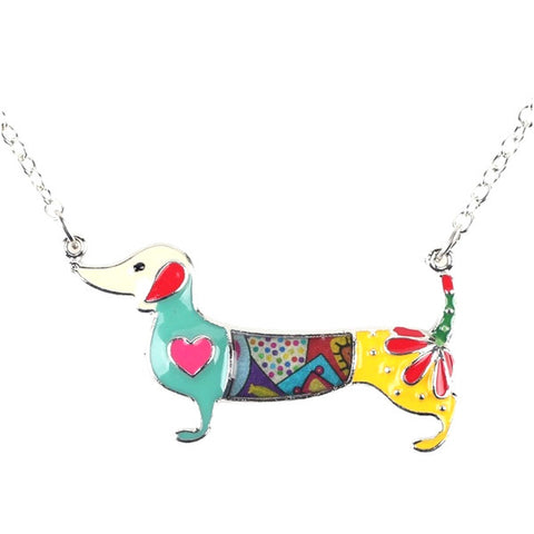Art Vintage Dachshund Dog Pendant Necklace