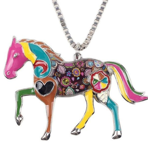 Art Vintage Horse Pendant Necklace