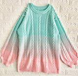 Fading Color Knitted Long Sweater