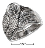 Sterling Silver Antiqued Men's Owl Ring