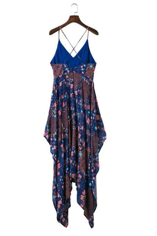 Sexy Long Boho Style Printing  Cotton Spaghetti Strap Dress