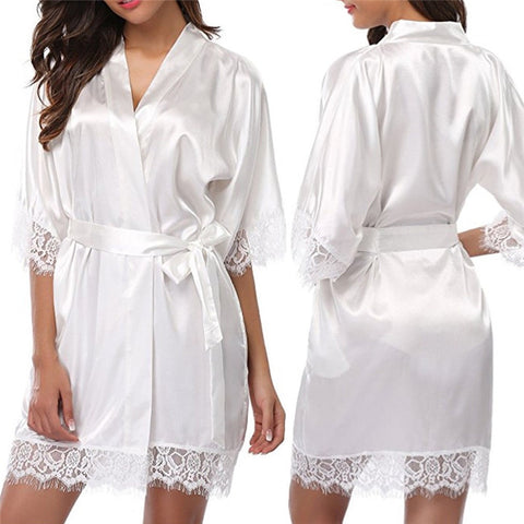 Sexy 1PC Short Lace Silk Satin Bride Kimono Robe