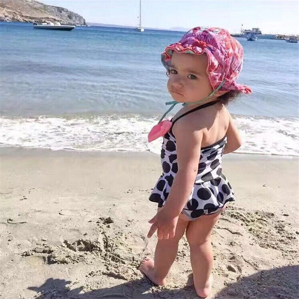 Bow Dot Swimwear Kids Girls Swimming Bikini Costume Bodysuit Swimsuit Halter Monokini Beach Clothes Clothing Summer Bathing Suit