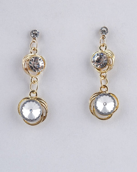 Interlinked Circular Double Drop Earrings
