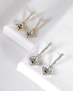 Crystal and Stone Studded Rhombus Shaped Drop Earrings id.31494