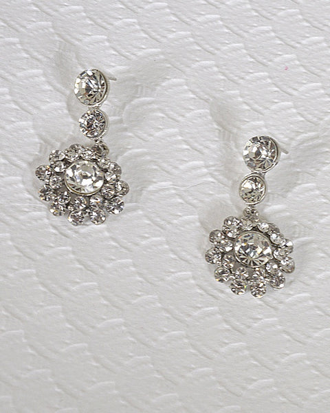 Tear Drop Shaped Crystal and Stone Studded Danglers