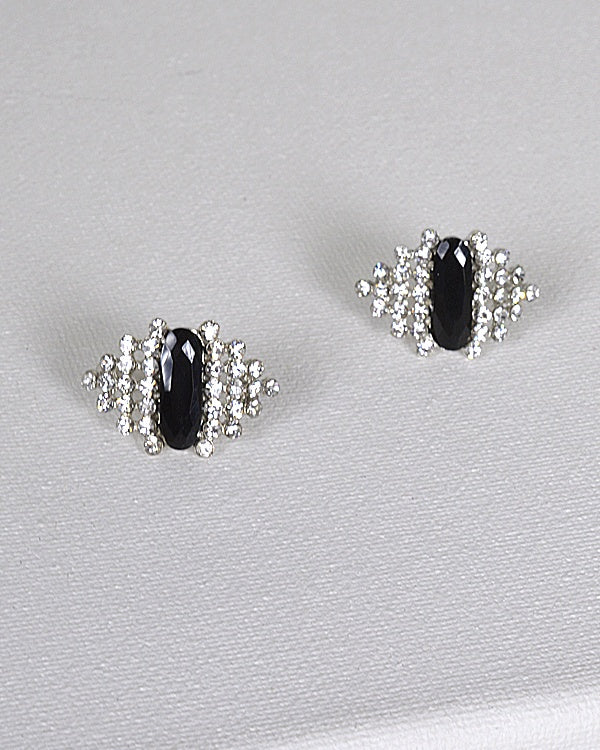 Rhinestone and Crystal Studded Drop Stud Earrings