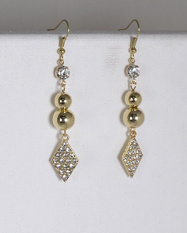 Rhinestone Crystal and Metal Accented Fishhook Drop Earrings