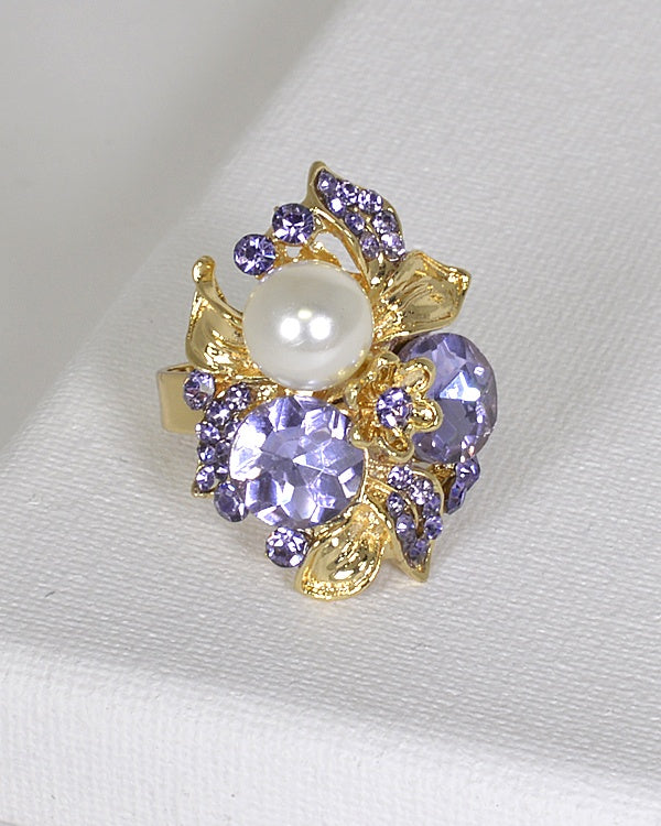 Metal Accented Rhinestone Crystal and Pearl Studded Ring
