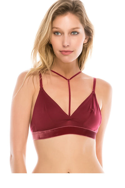 Ladies fashion micro suede bralette w/y strap