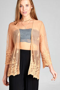 Ladies fashion open front scalloped hem lace cardigan