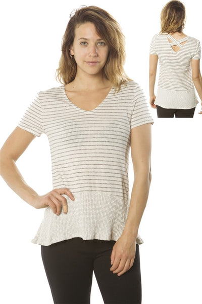 Ladies fashion short sleeve v neck top