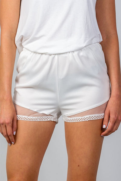 Ladies fashion crochet hem w/ mesh detail mini shorts