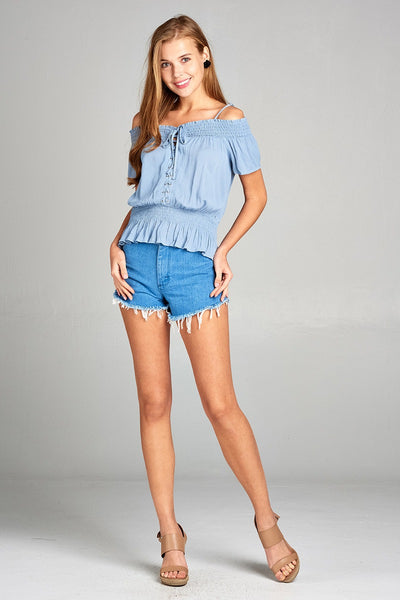 Ladies fashion short sleeve open shoulder smocked detail w/eyelet woven top
