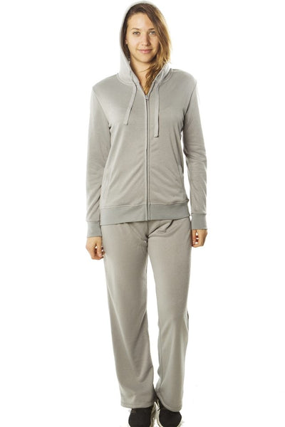Ladies fashion french terry hoodie jacket and pant set