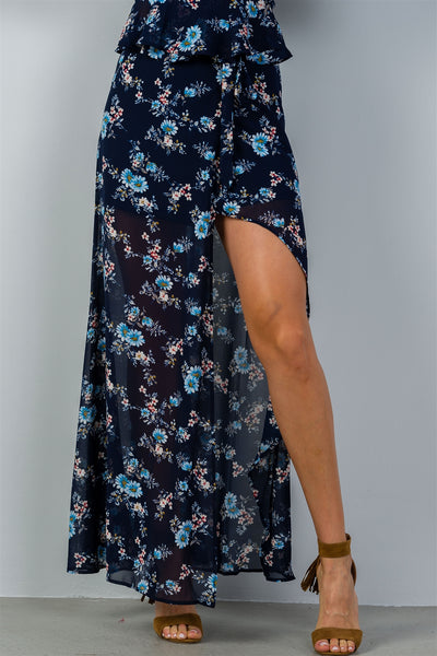 Ladies fashion navy & floral print wrap maxi skirt