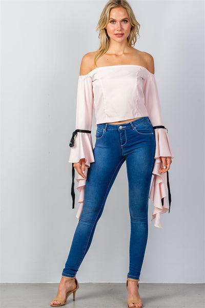 Ladies fashion pink ruffles flare sleeve off the shoulder blouse