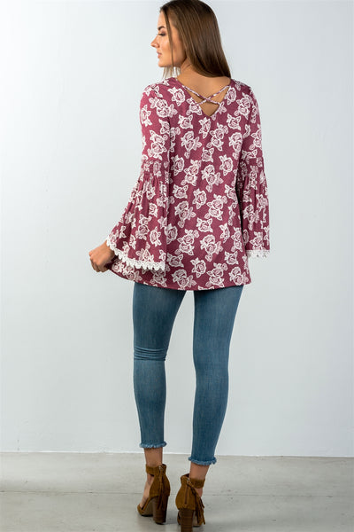 Ladies fashion floral print lace trim bell sleeves top