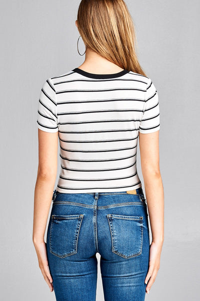 Ladies fashion short sleeve round contrast neck with knotted stripe rayon spandex top