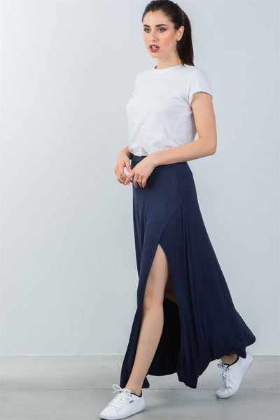 Ladies fashion elastic waist band side slit long skirt
