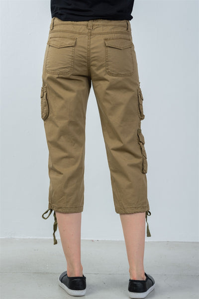 Ladies fashion capri pants with adjustable leg tie