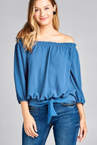 Ladies 3/4 sleeve off the shoulder waist band w/front self tie back smocked detail crepe woven top