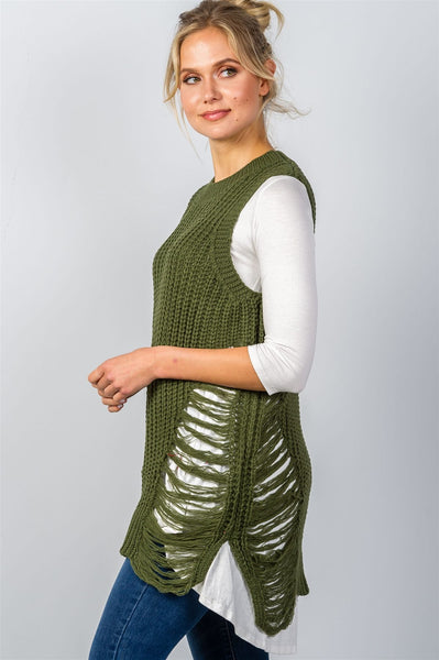 Ladies fashion round neckline sleeveless sweater knit distress sides dress