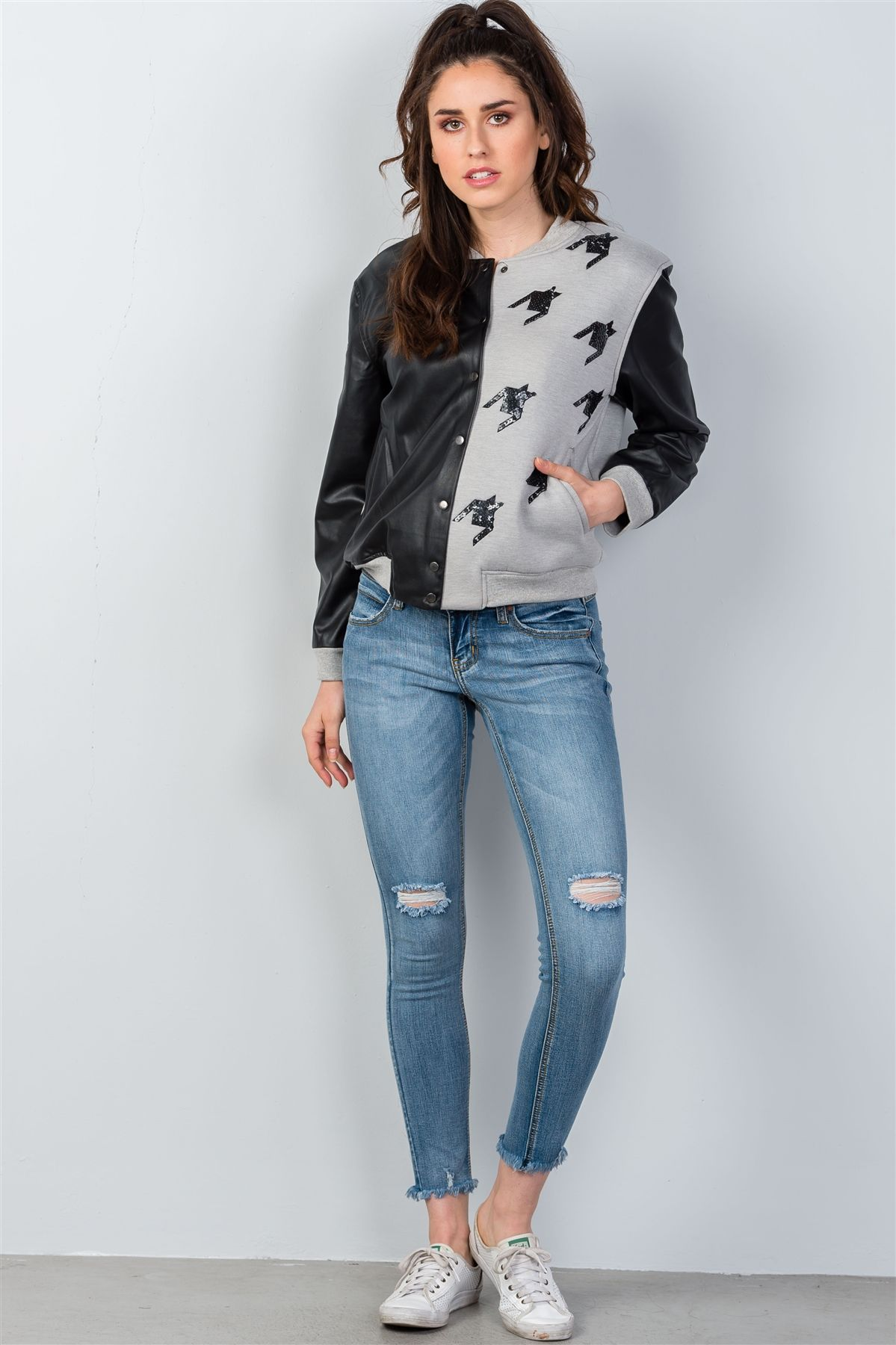 Ladies fashion black & grey colorblock jacket