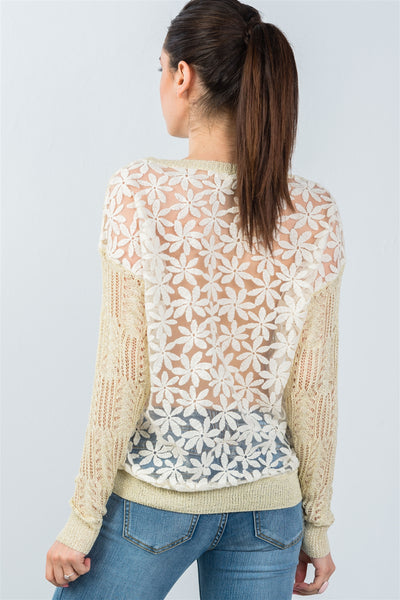 Ladies fashion beige crochet & flower embroidered mesh top