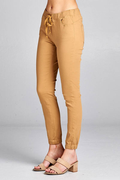 Ladies fashion waist drawstring elastic hem pants