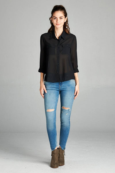 Ladies fashion plus size long sleeve front pocket chiffon blouse w/black button detail