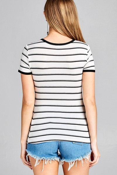 Ladies fashion short sleeve round neck yarn dye stripe rayon spandex jersey top