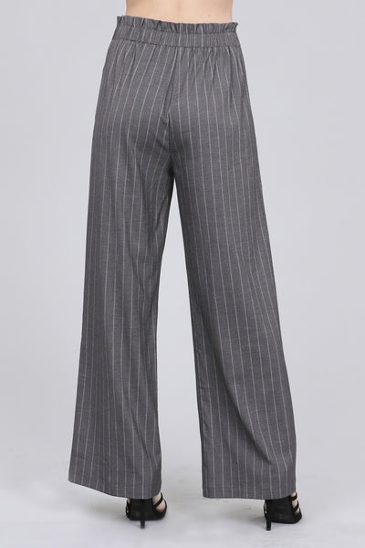 Ladies fashion high waist w/self belt long leg wide pinstripe woven pants